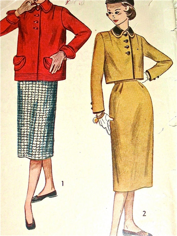 1940s or early 1950s Simplicity sewing pattern 3642 for ladies'  jacket  and skirt in two lengths.