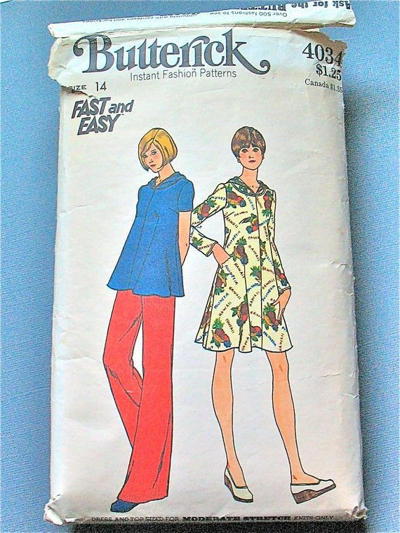 Vintage 70s Butterick 4034 sewing pattern for maternity dress, top with hoody.  Bust 36 inches.