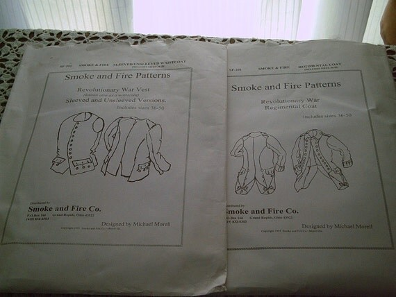 Patterns for Revolutionary War Coat and Vest with or without Sleeves by Smoke and Fire Patterns