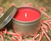 8oz CANDY CANE Soy Candle Travel Tin