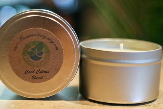 8oz COOL CITRUS BASIL Soy Candle Travel Tin (Bath and Body Works type)