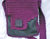 Gray Loves Magenta - Leather Crocheted Bag.