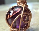 Closeout Sale Petite Pendant Ribbon Necklace Royal Purple Glass Copper Jewelry Etsy Handmade Jewelry
