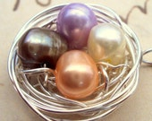 Colorful Birds Nest Pendant Necklace Genuine Pearls Woodland Jewelry Handmade on Etsy