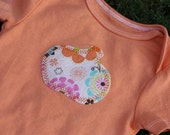 SALE Pumpkin girly orange applique onesie 6-9 months. Ready to Ship.