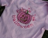 SALE Seconds quality Girly Babys First (1st) Halloween Pumpkin embroidered onesie 3-6 months. Ready to Ship.