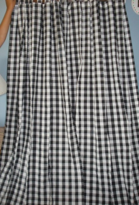 Black An White Checkered Tab Top Curtain Drapes 4 Panels Long