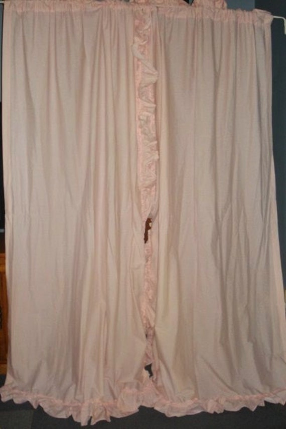 Vintage Pink Checkered Priscilla Ruffle Curtains 2 Long