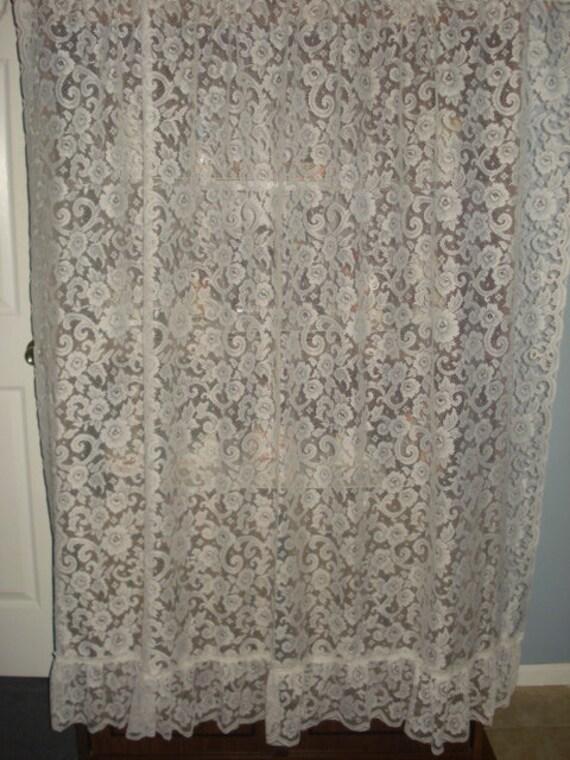 vintage antique white lace net ruffle floral curtain 1 wide