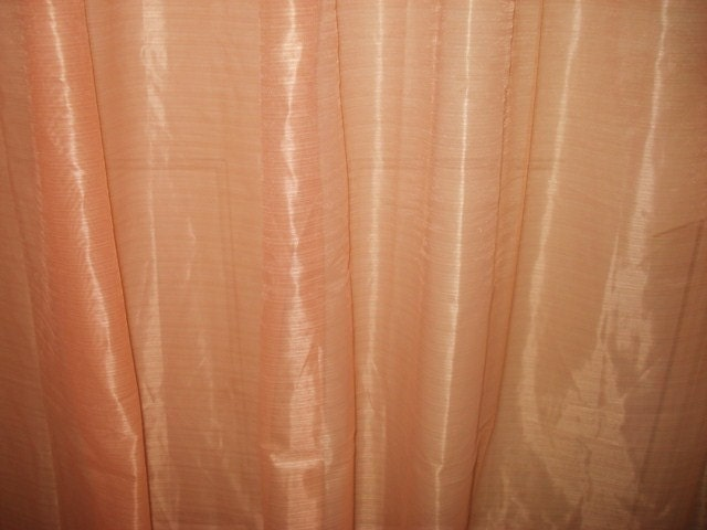 Vintage Peach Sheer Curtains Drapes 4 Long Panels