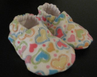 Soft Baby Shoes--Glitter Hearts