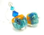 Turquoise Blue & Orange Earrings, Glass Earrings, Beadwork Earrings, Boro Lampwork Earrings, Tropical Dangle Earrings - Bahama Mama