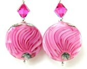 Pink Glass Bead Earrings, Hot Pink Fuchsia Lampwork Earrings, Hot Pink Earrings, Pink Glass Earrings - Strawberry Mousse