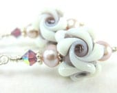 Dusty Rose White Flower Lampwork Earrings Mauve Pearl Sterling Silver - Whipped Cream With Berries