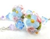 Floral Lampwork Earrings, Blue Lavender Pink Mint Glass Bead Earrings, Pastel Earrings - Easter Bonnet