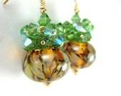 Green Brown & Gold Earrings, Boro Lampwork Earrings, Green Crystal Cluster Earrings, Beadwork Earrings, Glass Earrings - Green Eyed Lady