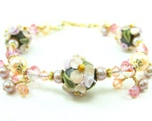 Peach Floral Lampwork Bracelet, Peach Pink Brown Glass Bead Bracelet, Pearl Crystal 14k Gold Filled - Sumptuous
