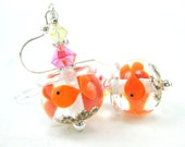 Goldfish Earrings, Fish Bowl Lampwork Glass Bead Earrings, Orange Crystal Sterling Silver - One Fish Two Fish