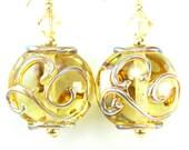 Gold Glass Earrings, Gold Lampwork Glass Earrings, Gold Aurae Swirl Earrings, Holiday Earrings, Gold Filled Earrings - Golden Slumbers