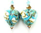 Blue Heart Earrings, Turquoise Blue Beadwork Earrings, Blue Ivory Lampwork Earrings, Southwestern Dangle Earrings - Beauty of the Southwest