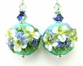 Teal Floral Lampwork Earrings,  White Purple Teal Glass Bead Earrings, White Flower Earrings, Teal Earrings - Beautiful Bride
