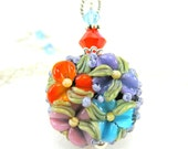 Floral Glass Necklace, Blue Orange Purple Lampwork Bead Necklace, Crystal Sterling Silver - Autumn Flowers