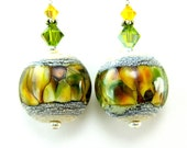 Green Yellow Glass Earrings, Gold Green Amber Ivory Lampwork Bead Earrings, Green Earrings, Yellow Earrings- Changing Autumn Leaves