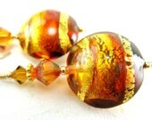 Murano Glass Earrings, Amber Gold Copper Murano Glass Beads, Crystal 14k Gold Filled - Glowing Sunrise