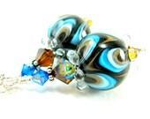 Brown & Turquoise Blue Earrings, Lampwork Earrings, Glass Earrings, Retro Earrings, Beadwork Earrings, Dangle Earrings - Mod Squad