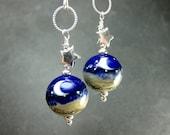 Blue Moon Earrings, Crescent Moon Lampwork Earrings, Cobalt Blue Glass Bead Earrings, Star Earrings, Beadwork Earrings - Wish Upon a Star