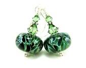 Green Boro Lampwork Bead Earrings, Hunter Olive Emerald Green Glass Earrings, Crystal Sterling Silver - Spruce Tree