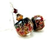 Glass Bead Earrings, Cherry Red Black Brown Boro Lampwork Earrings, Crystal Sterling Silver - Chocolate Covered Cherries