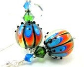 Rainbow Earrings, Rainbow Lampwork Glass Bead Earrings, Crystal Sterling Silver - Electric Rainbow