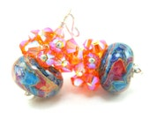 Orange Blue Boro Lampwork Earrings, Turquoise Blue Orange Pink Beadwork Earrings, Crystal Cluster Earrings, Colorful Earrings - Tie Dye
