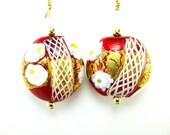 Christmas Earrings, Red Murano Glass Earrings, Red Gold Floral Venetian Glass Earrings, Holiday Earrings, Red Earrings - Poinsettia
