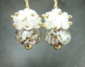 Moonstone and Glass Bead Earrings, White Gold Green Boro Lampwork Earrings, Moonstone Earrings, 14k Gold Filled Earrings - Moonlight On Snow