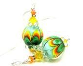 Green Glass Bead Earrings, Beadwork Earrings, Green Orange Yellow Lampwork Earrings, Colorful Dangle Earrings - Awesome Blossom