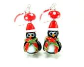 Penguin Earrings, Christmas Earrings, Penguin Santa Lampwork Glass Bead Earrings - Christmas Penguins