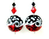 Lampwork Earrings, Red Black White Polka Dot Glass Earrings, Red Black White Earrings  -  Sassy