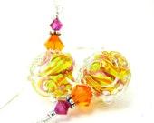 Neon Yellow & Orange Earrings, Lampwork Earrings, Pink Yellow Orange Glass Earrings, Beadwork Earrings, Colorful Earrings - Intertwined