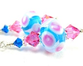 Hot Pink & Blue Earrings, Polka Dot Earrings, Beadwork Earrings,  Lampwork Earrings, Glass Earrings,  Dangle Earrings, Polka Dots - Soda Pop