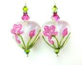 Pink White Heart Earrings, Romantic Earrings, Floral Earrings, Lampwork Earrings, Feminine Earrings, Gift for Gardener Glass Earrings Petals