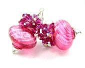 Hot Pink Murano Blown Glass Earrings, Hot Pink Venetian Blown Glass Bead Earrings, Pink Glass Earrings - Pomegranate Fizz
