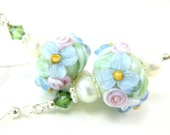 Pastel Floral Lampwork Earrings, Mint Green Pink Blue Glass Bead Earrings, Pearl Earrings, Pastel Earrings, Mint Earrings - Gentle Touch