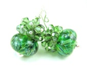 Green Earrings, Green Glass Earrings, Emerald Green Boro Lampwork Bead Earrings, Green Crystal Earrings - Irish Springs