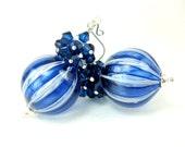 Navy Blue Murano Blown Glass Earrings, Dark Blue Crystal Cluster Earrings, Dangle Earrings, Beadwork Earrings - Pinstripe Balloons