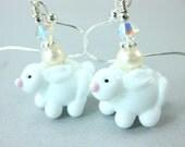 White Rabbit Earrings, Easter Earrings, Bunny Earrings, Lampwork Bead Earrings, Beadwork Earrings, Drop Earrings, Animal Earrings - Fluffy
