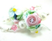 Pink Rose Earrings, Lampwork Earrings, Pastel Floral Earrings, Glass Earrings, Beadwork Earrings, Dangle Earrings, Beaded - Ice Cream Social