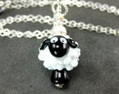 Sheep Necklace, White Black Sheep Lampwork Bead Necklace, Animal Necklace, Black White Necklace - Counting Sheep
