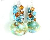 Lampwork Earrings, Aqua Blue Earrings, Crystal Earrings, Blue Brown Gold Glass Earrings, Beadwork Earrings, Dangle Earrings - Cloud Dance